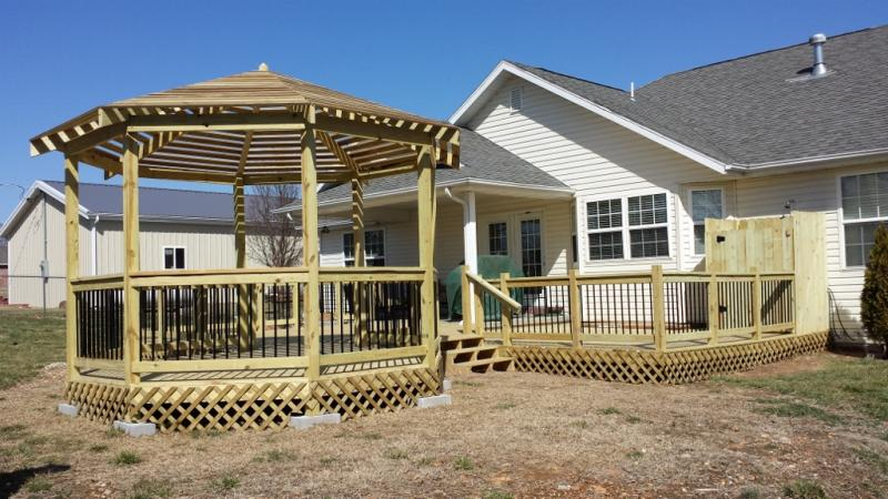 Deck built with treated lumber with Gazebo skirted with trellis