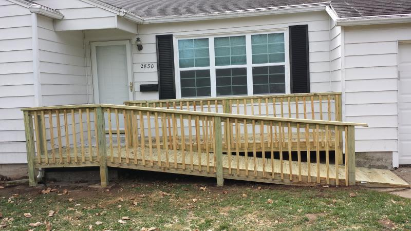 new deck or porch with a ramp
