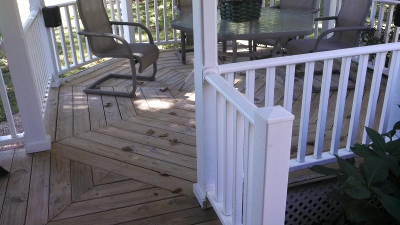 deck before cleaning and staining