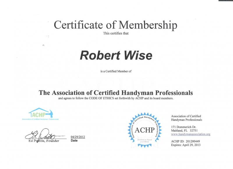 handyman certificate services standing